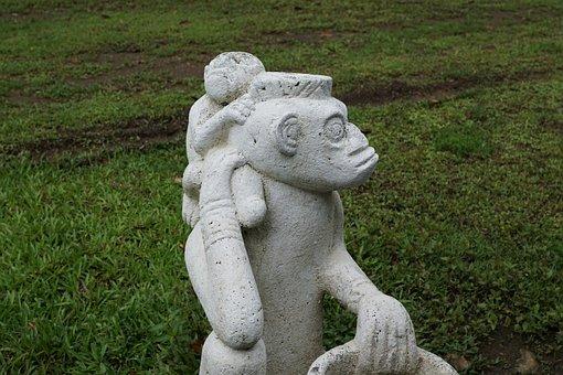 Costa Rica, Fig, Stone, Sculpture, Panama, Monkey