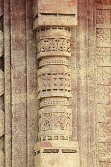 Stone Carving, Pillar, Temple, Hinduism, Traditional