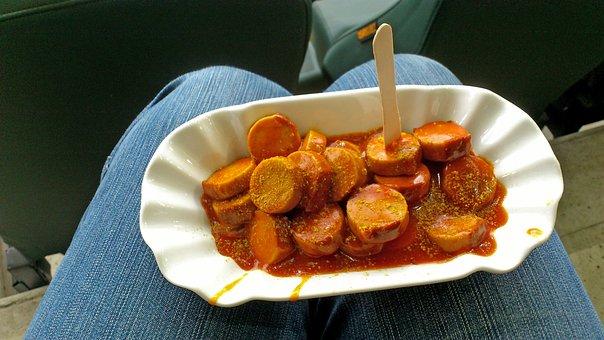 Currywurst, Snack, Break, Porcelain, Typical German