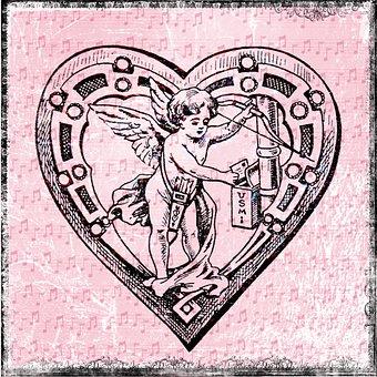 Heart, Drawing, Angel, Vintage, Background, Pink, Cupid