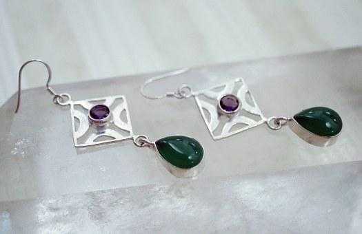 Green, Agate, Purple, Amethyst, Dangling