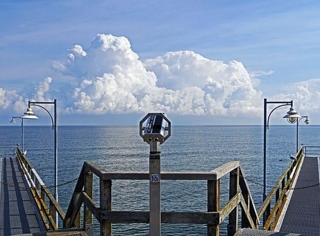 Baltic Sea, Rügen, Sea Bridge, Cumulus Clouds