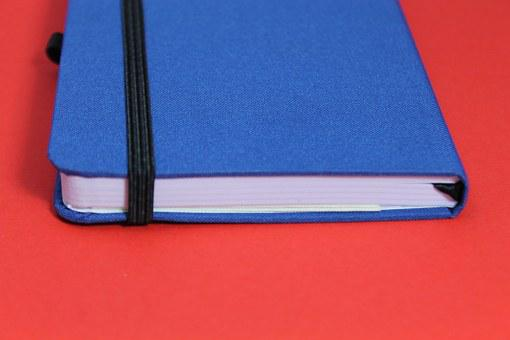 Notebook, Calendar, Leave, Red, Blue, White, Management