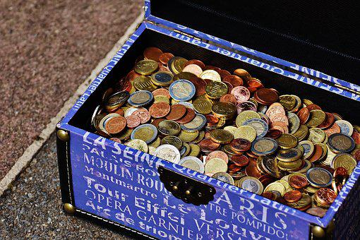 Box, Chest, Money, Coins, Holidays Checkout, Currency