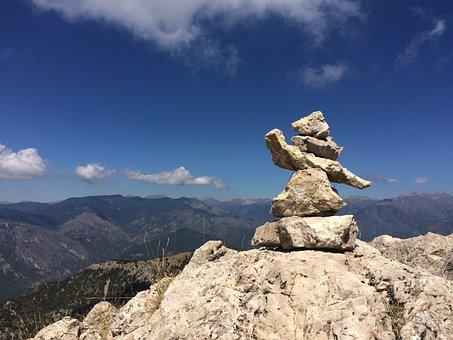 Cairn, Mountain, Sky, Rock, Stone, Outdoors, Peak