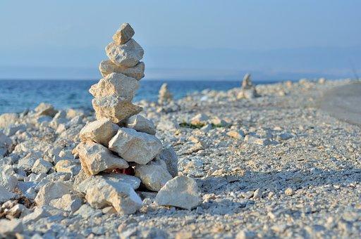 Stone, Cairn, Piles Of Stones, White, Beach, Sea