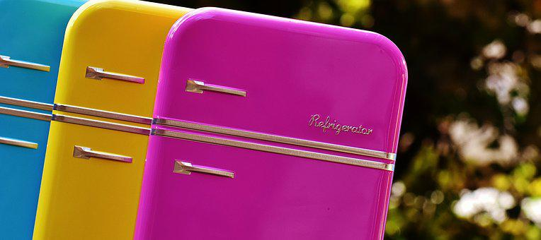 Refrigerators, Cans, Candy Jars, Blue, Yellow, Pink