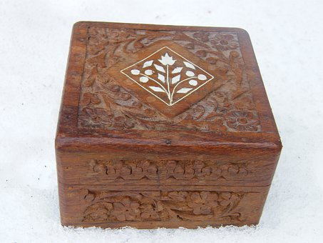 Box, Brown, Carved, Casket, Closed, Jewelry Box