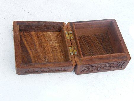 Box, Brown, Carved, Casket, Open, Jewelry Box