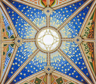 Almudena Cathedral, Ceiling Painting, Church, Madrid
