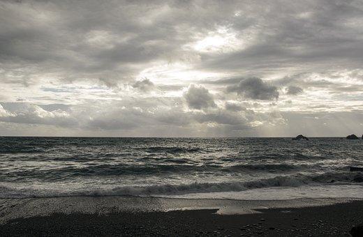 Cloudy, Beach, Waves, Silver, Ocean, Sea, Water, Blue