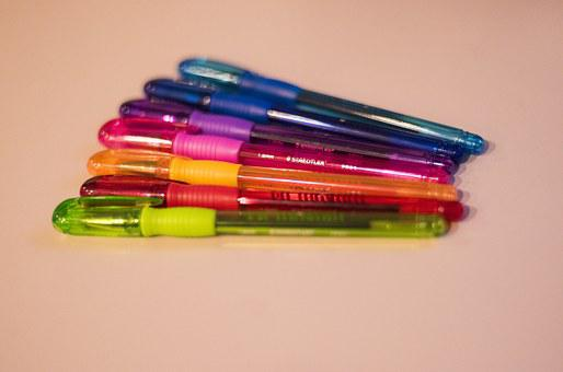 Pens, Color, Office, Drawing, Colorful, Paper, Writing