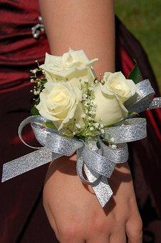White Roses, Roses, Grad, Corsage, Redress Wrist
