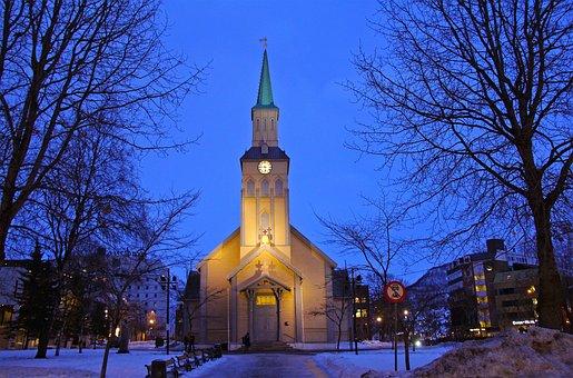 Blue, Church, Dark, Evening, Night, View, Romantic