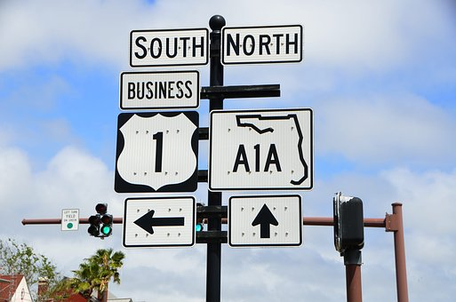 A1a Sign, Route, Florida, East Coast, Road, Arrow