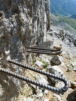 Gamsängersteig, Climbing, Shoring, Hunter Wall, Aid