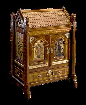 Jewellery Casket, Casket, Antique, Mahogany, Gilding