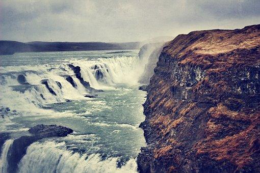 Waterfall, Iceland, Gullfoss, River, Stream, Flowing