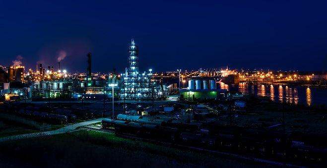 Port Arthur, Texas, Night, Evening, Industry, Refinery