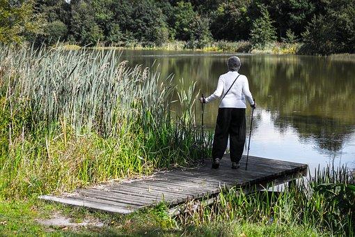 Web, Woman, Walking, Hiking, Lake, Water, Bank, Jetty