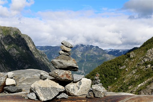 Mountain, Cairn, Balance, Stone Towers, Landscape