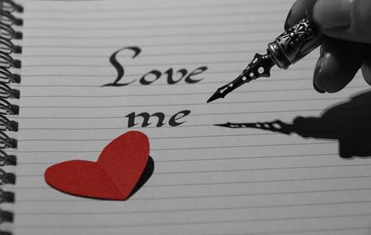 Notebook, Red, Black White, Love, Me, Note, Calligraphy