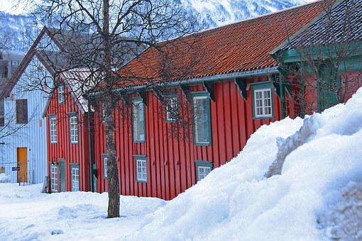 Snow, Red, Traditional, Nordic House, House, View