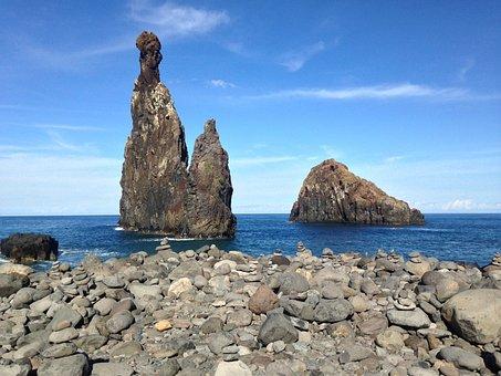 Rock, Cliff, Mar, Costa, Orla, Ocean, Island, Sol