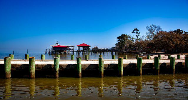 Point Clear, Alabama, Panorama, Sea, Ocean, Dock, Pier