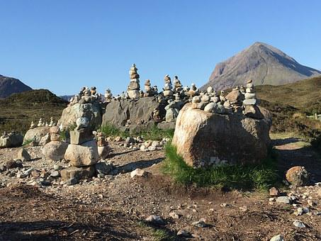 Scotland, Isle Of Skye, Cairns, Ducks, Stacked, Pile