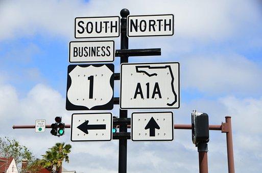 A1a Sign, Route, Florida, East Coast, Road, Arrow