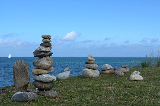 Stone Tower, Sea, Stones, Beach, Meditation, Tower