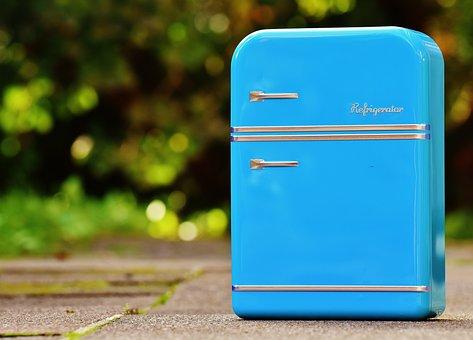 Refrigerator, Box, Cookie Jar, Blue, Storage, Tin Can