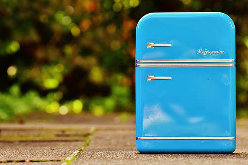 Refrigerator, Box, Cookie Jar, Blue, Storage, Tin Can