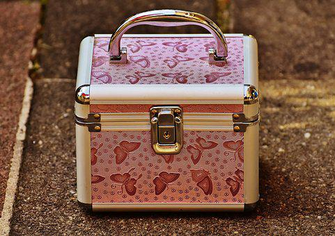 Briefcase, Pink, Silver, Cute, Luggage, Vanity Cases