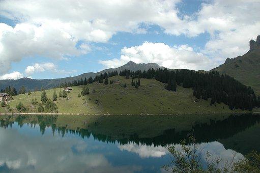 Bergsee, Alpine Lake, Mirroring, Reflection, Clouds