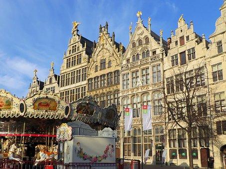 Belgium, Antwerp, Facades, Grand'place, Architecture
