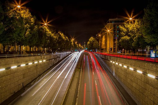 Munich Night, Road, Autos, Light Traces, Light Tracks