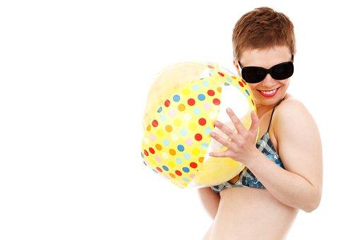 Ball, Beach, Bikini, Female, Fun, Girl, Happy, Isolated