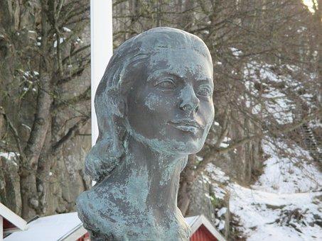 Statue, Bust, Woman Face, Ingrid Bergman, Fjällbacka
