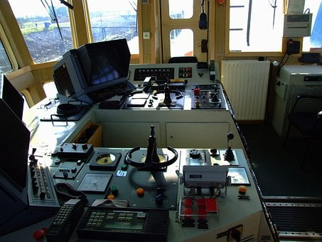 Tugboat, On Bridge, Captain's Chair, Controls, Boat