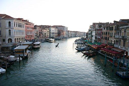 Channel, Venice, Great Channel, Gondolas, Italy