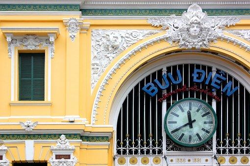 Train Station, Clock, Architecture, City, Old, Vietnam
