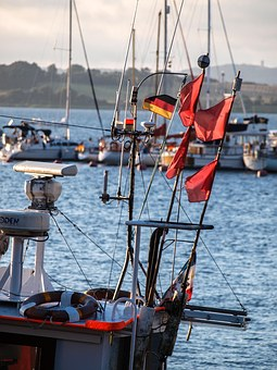 Bay, Sea, Port, Boat, Cutter, Flags, Reed, Fishing