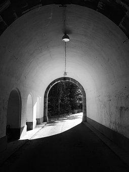 Tunnel, Light, Black And White, Dark, Underground