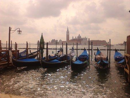 Venice, Gondolas, Italy, Sea, Gondola, Great Channel