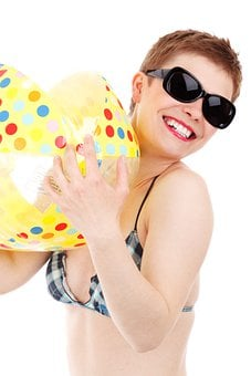 Beach, Ball, Bikini, Female, Fun, Girl, Happy, Isolated