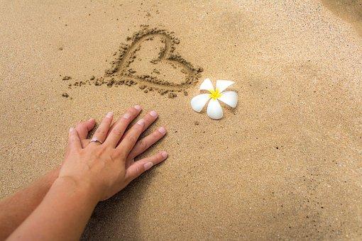 Sand, Betrothed, Love, Heart, Flower, Hawaii, Maui