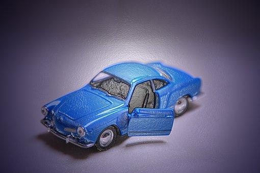 Karman Ghia, Model Car, Blue, Art Filter