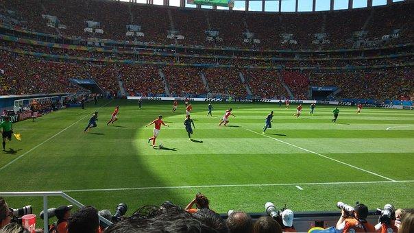 Football, Stadium, Field, Lawn, Game, Crown